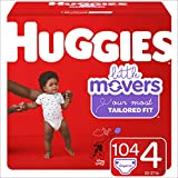 Huggies Little Movers Baby Diapers, Size 4, 104 Ct