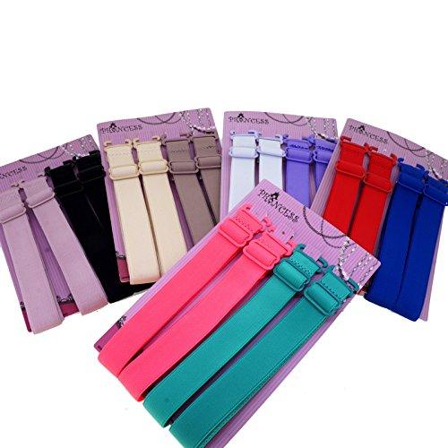 15mm Wide Band Fashion Stylish Bra Straps, Women's Accessories 8 Plain Color Set
