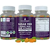 Sugar Free Hair Gummy Bear Vitamins by Hair Thickness Maximizer | with Biotin 5000 mcg. Vegan, Gluten Free, Chewy Natural Hair Vitamin Gummies for Men and Women. Great for Hair Growth, Skin and Nails