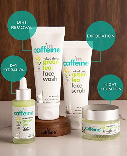 51xat27IaQL - mCaffeine Naked Detox Green Tea Night Gel | Moisturization | Vitamin C, Hyaluronic Acid | All Skin | Paraben & Mineral Oil Free | 50 ml