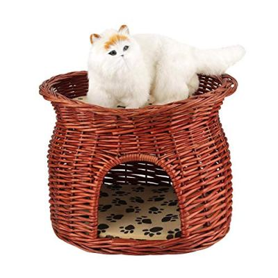 Cat Bed Wicker Basket, 2 Layers Pet Cave Rattan Wicker Cat Bed...