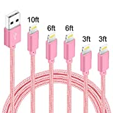 IDiSON 5Pack(3ft 3ft 6ft 6ft 10ft) iPhone Lightning Cable Apple MFi Certified Braided Nylon Fast Charger Cable Compatible iPhone Max XS XR 8 Plus 7 Plus 6s 5s 5c Air iPad Mini iPod (Rose)