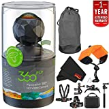 360fly 360 Waterproof HD Video Camera Year Extended Warranty + Floating Strap + Clip Head Mount International Version