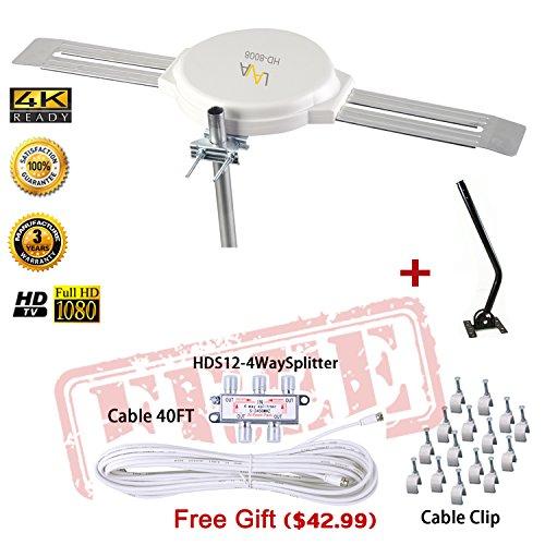 Lava HD8008 Omnidirectional Outdoor TV Antenna HD TV 4K 360 Degree OmniPro HD-8008 + Installation Kit & TV Antenna Jpole