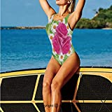 Women's One Piece Swimsuits,of Rose and Daisies with Purity,Swimwear