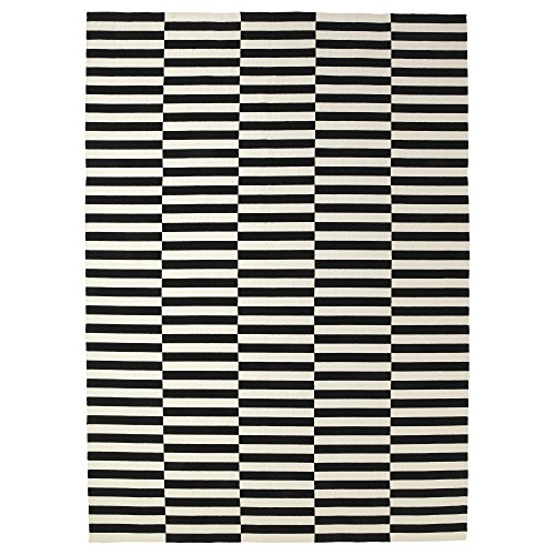 Ikea Rug, flatwoven, black handmade stripe, off-white stripe black/off-white 8 '2 'x11 ' 6 ' 2024.2118.2218