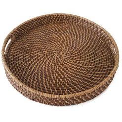 Large Round Wicker Serving Tray