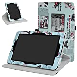 Verizon Ellipsis 10 Rotating Case,Mama Mouth 360 Degree Rotary Stand with Cute Cover for 10.1' Verizon Ellipsis 10 Android Tablet,Newspaper