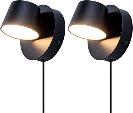 Viluxy Modern Led Bedside Wall Sconce Plug In Cord With Switch Lighting Fixture 350 Rotation Adjustment Black Wall Lamp For Bedroom 6w 3000k 2 Pack Amazon Com