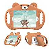 pzoz Case Compatible iPad Case for Kids Shockproof Silicone Handle Stand Heavy Duty Protective Boys Girls Cover for Apple iPad Air 1/2 Pro 9.7 2017/2018 A1893 A1954 5th Generation 6th Gen(Brown)