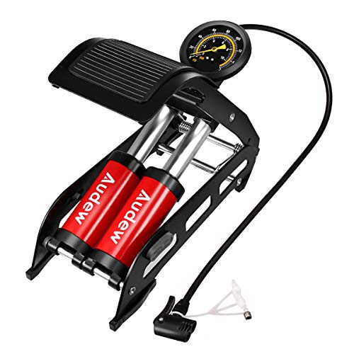 Audew Dual-Cylinder Foot Pump, Portable Floor Pump with Accurate Pressure Gauge & Smart Valves, 160PSI Air Pump for Bicycles, Motorcycles, Cars, Balls and Other Inflatables