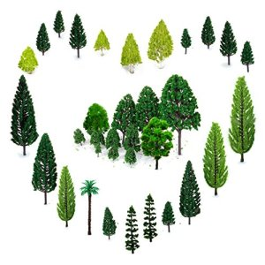 OrgMemory 29pcs Mixed Model Trees 1.5-6 inch(4 -16 cm), Ho Scale Trees, Diorama Supplies, Model Train Scenery, Fake Trees for Projects, Woodland Scenics with No Bases 51xkp5DbOuL