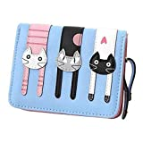 Black Sale Friday Deals Cyber Deals Monday Deals Sales 2018-Valentoria Birthday Gifts for Women's Mini Faux Leather Bifold 3 Cat Design Clutch Wallet(Teal Blue)