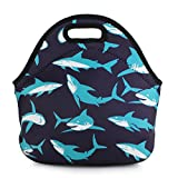 Violet Mist Neoprene Reusable Insulated Lunch Tote Bag School Picnic Thermal Carrying Gourmet Lunchbox Container Organizer For Men, Women, Adults, Kids, Girls, Boys (Sharks)