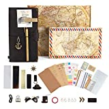 GRT Refillable Leather Journal Travelers Notebook- 8.5 x 4.5 Handmade a5 Genuine Leather Cover with 4 Inserts- Creative Accessories Over 30 pcs- Perfect Writing Gift for Men and Women- Standard Size