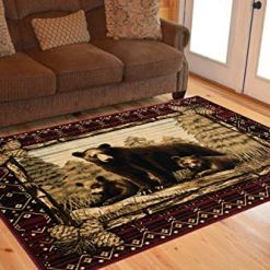 Rug Empire Rustic Grizzly Bear Cubs Rug