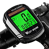 WESTGIRL Bike Computer Solar Energy, Wireless Waterproof Bicycle Speedometer Odometer, Automatic Wake-up Multifunctions Cycling Computers LCD Backlight, Cycling Accessories