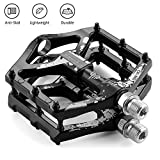 LYCAON Bike Bicycle Pedals, Light Aluminum Alloy Casting Body, 2DU Sealed Bearing Pedal for 9/16 MTB BMX Road Mountain Bike Cycle