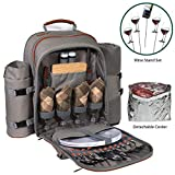 Picnic Backpack Set for 2 to 4 With Blanket, Wine Stand & Glasses, Cutlery, Dinnerware, Detachable Insulated Waterproof Compartment Pouch In The Cooler, Great Picnic Basket For Family Outdoor Camping