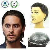 N.L.W. European virgin human hair toupee for men with transparent Thin skin PU, 10' x 8' Straight hair pieces for men #2 Dark brown