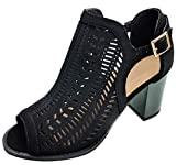 TravelNut Best Plus Size Cut Out Stack Chunky Midi Heel Ankle Buckle Dress Sandal Shoe for Women Teen Girls (Black Size 10)