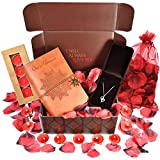 Anniversary Surprise Box: One of the best Romantic Gifts & Anniversary Gift - INCLUDES: Sterling Silver Necklace, Leather Journal, Rose Petals & Romantic Candles.Best 1 year anniversary gifts for her