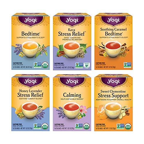 Yogi Tea – Stress Relief and Herbal Tea Variety Pack Sampler (6 Pack) – 96 Tea Bags