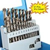 """COMOWARE Cobalt Drill Bit Set- 21Pcs M35 High Speed Steel Twist Jobber Length for Hardened Metal, Stainless Steel, Cast Iron and Wood Plastic with Metal Indexed Storage Case, 1/16""""-3/8"""""""