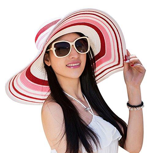 Stylish Women's Summer Sun hat UV Protection Foldable Adjustable Cap (Pink)