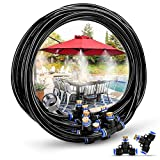 HOMENOTE Misting Cooling System 26.2FT (8M) Misting Line + 9 Brass Mist Nozzles + a Brass Adapter(3/4') Outdoor Mister for Patio Garden Greenhouse Trampoline for waterpark