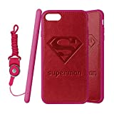 """Superman iPhone 7 4.7"""" Case, Onelee Superman Red TPU and PU Leather Case for iPhone 7 4.7"""" [Scratch proof] [Drop Protection]"""