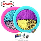 Soft Sequin Frisbee 12' Holographic Flyers Glitter Shiny Shimmery Indoor Outdoor Flying Disk with 2 GosuToys Stickers (2 Pack Assorted Colors)