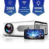 HOLLYWTOP HD Mini Portable Projector 2800 Lux WiFi Wireless Synchronize Smart Phone Screen,1080P Supported 180' Display, Multimedia Connections, Compatible with Laptop/PS4/Fire TV Stick/Computer/DVD