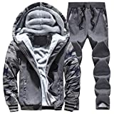 LISIBOOO Mens Winter Active Tracksuit, Leisure Fleece Jackets Pants, Hooded Sweat Suit, Jogging Running Sport Fitness