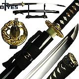 DTYES Japanese Samurai Katana Sword/Japanese Sword Customization, (1060 Carbon Steel Blade-Classic Golden Tsuba) ((Original Katana) 1060 Carbon Steel Blade-Classic Golden Tsuba)