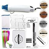 Embossing Kit with Heat Tool Bundle, Embossing Powder, Emboss-it Pens, Embossing Ink Pad, Embossing Magic Pad, 3X Acrylic Stamp Blocks, Craft Scoops
