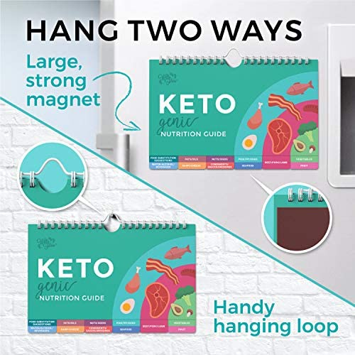 Willa Flare Keto Cheat Sheet Magnets - Easy Reference for 192 Keto Snacks and Foods! Correct Ketogenic Measurements for your Keto Cookbook - Easy Keto Diet Fridge Guide PLUS Extra List of 500 Foods 8