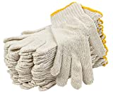 12 Pack Beige String Knit Gloves 10'. Washable Glove with Elastic Knit Wrist. Cotton Polyester Gloves. Plain Seamless Workwear Gloves. Protective Industrial Work Gloves for Men. Wholesale price.