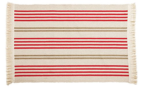 Ikea Flatwoven Area Kitchen Rug Stripes Cotton Red Green Throw Mat