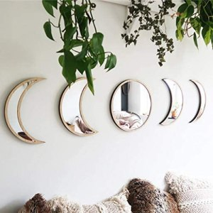 5 Pieces Scandinavian Natural Decor Acrylic Wall Decorative Mirror Interior Design Wooden Moon Phase Mirror Bohemian Wall Decoration for Home Living Room Bedroom Decor – Acrylic,Not Real Mirror(Beige)