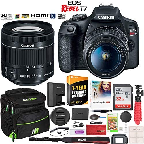 Canon EOS Rebel T7 DSLR Camera with EF-S 18-55mm f / 3.5-5.6 is II Lens Essential Accessory Bundle with Deco Gear Photography Gadget Bag + 32GB + Extended Warranty + Editing Software & Maintenance Kit