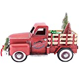 Pre-lit LED Happy Holiday's Christmas Tree Vintage Metal Truck Decor