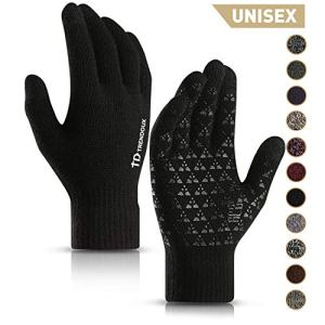 TRENDOUX Winter Gloves for Men and Women – Upgraded Touch Screen Anti-Slip Silicone Gel – Elastic Cuff – Thermal Soft Wool Lining – Knit Stretchy Material