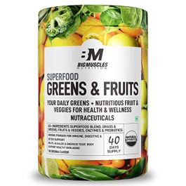 Bigmuscles Nutrition Superfood Greens & Fruits 40 Servings | Original Flavour | Organic Spirulina & Wheat Grass – Whole…