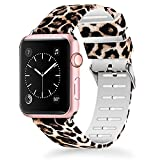 Lwsengme Compatible for Apple Watch Band 38mm 40mm, Soft Silicone Replacment Sport Bands iWatch Series 4 Series 3 Series 2 Series 1 - Pattern Printed (Flower-6, 38MM/40MM)