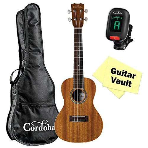Cordoba 15CM Concert Ukulele guitarVault Bundle With Cordoba Gig Bag, Tuner and Polishing Cloth