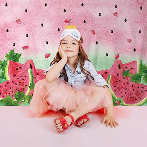Allenjoy 8x6ft Summer Watermelon Photography Backdrop Supplies for Newborn Kids Girls Boys Birthday Party Decorations Fabric Baby Shower Studio Portrait Pictures Shoot Props Favors Banners Background 3