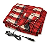 Camco Polar Fleece Heated Blanket for Cars, Trucks, and RVs - Power Cord Plugs into 12V Vehicle Power Outlet | Great for Cold Weather, Traveling, or Emergencies - Plaid Red  (42804)