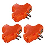 (3 Pack) Uninex T-shape Triple (3) Outlet Heavy Duty Grounded Wall Plug Tap Adapter Orange