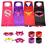 Munfa 4 Different Superheros Cape and Mask Costumes 4 Set Includes Bonus Matching Wristbands for Kids (Multicolored) (Multicolored) (Girl, Supergirl)